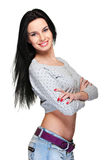 Cheerful pretty woman with long hair Stock Photography