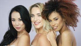 Cheerful pretty women standing in studio together. Portrait of cheerful young pretty women with different hair posing together and looking at camera in studio stock video