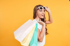Cheerful pretty young woman holding shopping bags. Stock Photography