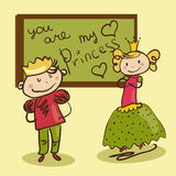 Cheerful Prince wrote a love letter to his princess on blackboar Stock Image