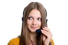 Cheerful professional call center operator Royalty Free Stock Images
