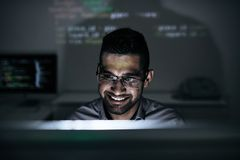 Cheerful programmer Stock Images