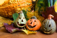 Cheerful pumpikns for Halloween. Royalty Free Stock Images