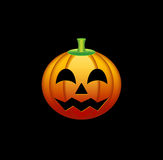 Cheerful pumpkin. Cheerful orange pumpkin with the cut out eyes, a nose and a mouth. Decoration for Halloween. The object is located on a black background Royalty Free Stock Photos