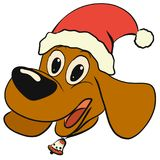 Cheerful puppy with long ears, in a Christmas hat, with a bell.  stock illustration