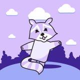 Merry purple raccoon. Cheerful raccoon dances on the lawn Royalty Free Stock Photography