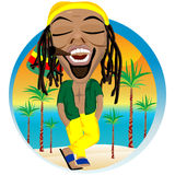 Cheerful rastafarian and palm tree beach Royalty Free Stock Photography