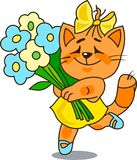 Cheerful red cat with a bunch of flowers Stock Image