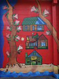 Cheerful red children's mural made in New Zealand Royalty Free Stock Image
