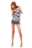Cheerful red-haired girl in a t-shirt Stock Photo