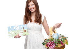 Funny festive easter girl Royalty Free Stock Image