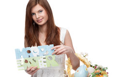Funny festive easter girl Stock Photography
