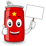 Cheerful Red Soda Can Holding Banner Royalty Free Stock Photo