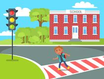 Cheerful Redhead Kid with Red Rucksack Crossing Rroad Stock Photography