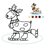 Cheerful reindeer skating Coloring for kids. Happy cute winter skating reindeer coloring book for toddlers with a simple contour and color example Stock Photos