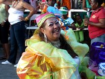 A cheerful resident of Curacao at the carnival. February 3, 2008. royalty free stock photo