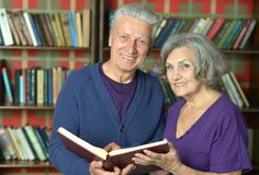 Cheerful retired couple in love Royalty Free Stock Image