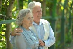 Cheerful retired couple. Portrait of happy cheerful retired couple outdoors Stock Photo