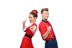 Cheerful retro couple Stock Photography
