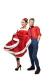 Cheerful retro couple Stock Images