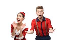 Cheerful retro couple Stock Photography