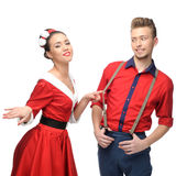 Cheerful retro couple Royalty Free Stock Images