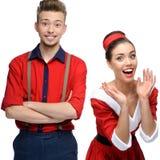 Cheerful retro couple Stock Image