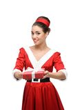Cheerful retro girl holding red gift Royalty Free Stock Images
