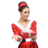 Cheerful retro girl holding red gift Royalty Free Stock Photography