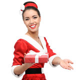 Cheerful retro girl holding red gift Royalty Free Stock Photo