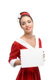 Cheerful retro girl holding sign Royalty Free Stock Photography