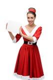 Cheerful retro girl holding sign Stock Image