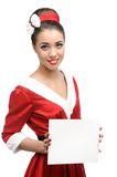 Cheerful retro girl holding sign Stock Photography