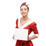 Cheerful retro girl holding sign Stock Images