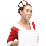 Cheerful retro girl holding sign Royalty Free Stock Photo
