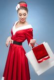 Cheerful retro housewife Royalty Free Stock Images