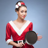 Cheerful retro housewife Stock Photo