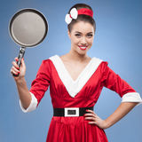 Cheerful retro housewife Stock Images