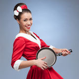 Cheerful retro housewife Royalty Free Stock Image