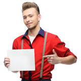 Cheerful retro man holding sign Stock Image