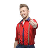 Cheerful retro man showing ok Stock Images