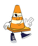 Cheerful Road cone cartoon Stock Images