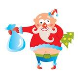 Cheerful Santa. Illustration of Santa holding bag with presents in hand Stock Photo