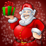Cheerful Santa Claus with Box Gift Royalty Free Stock Images