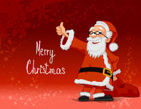 Cheerful Santa carrying bag on red background. Santa Claus carrying bag on red background Royalty Free Stock Photos