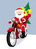 Cheerful Santa Claus. Cheerful Santa Claus on a red retro motorcycle royalty free illustration