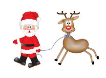 Cheerful Santa Claus with a cute smiling reindeer Stock Photo