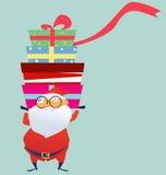 Cheerful Santa Claus giving Christmas gift box. Illustration of cheerful Santa Claus giving Christmas gift box Royalty Free Stock Photos