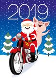 Cheerful Santa Claus and pig. Cheerful Santa Claus and pig on a red retro motorcycle stock illustration