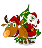Cheerful Santa Claus and reindeer Stock Photography